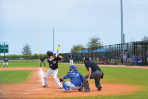 A batter prepares to swing at a ball during a game at Lake Myrtle.