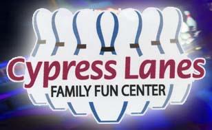 A logo for Cypress Lanes Family Fun Center