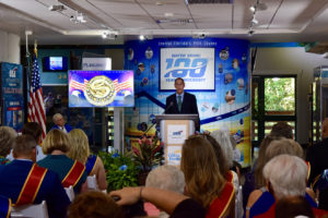 USA Water Ski and Wake Sports Foundation President Ed Hickey addressed the crowd at the Hall of Fame event