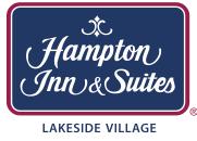 A logo for Hampton Inn & Suites, Lakeside Village