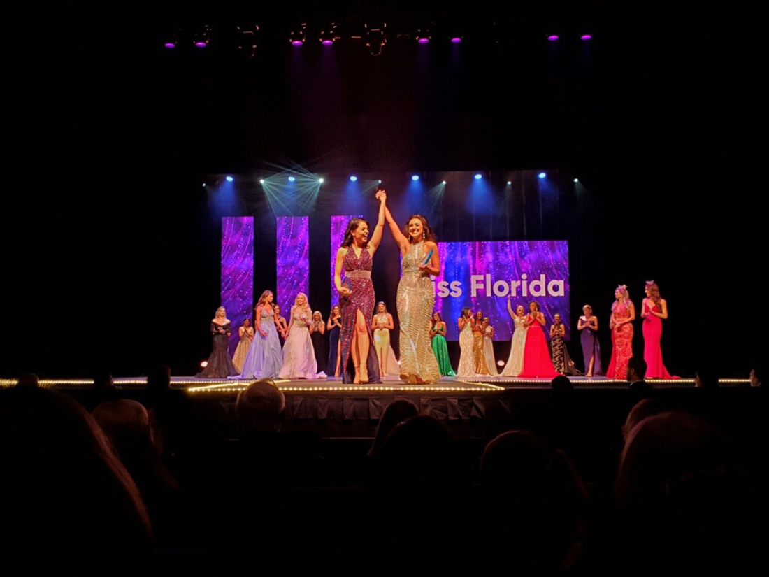 Leila Sabet and Cassidy Goldman revel in their Miss Florida preliminary round win while Kayley Katt and Isabella Iannuzzi congratulate each other.