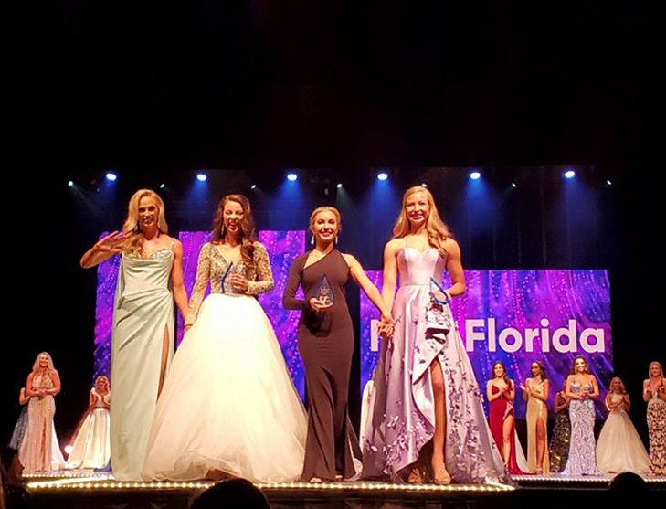 Lindsay Bettis, Ruby Tilghman, Alana Scheuerer, Anna-Katherine Risalvato after winning their respective categories Thursday night at the Miss Florida Competition in Lakeland, Florida.