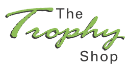A logo for The Trophy Shop