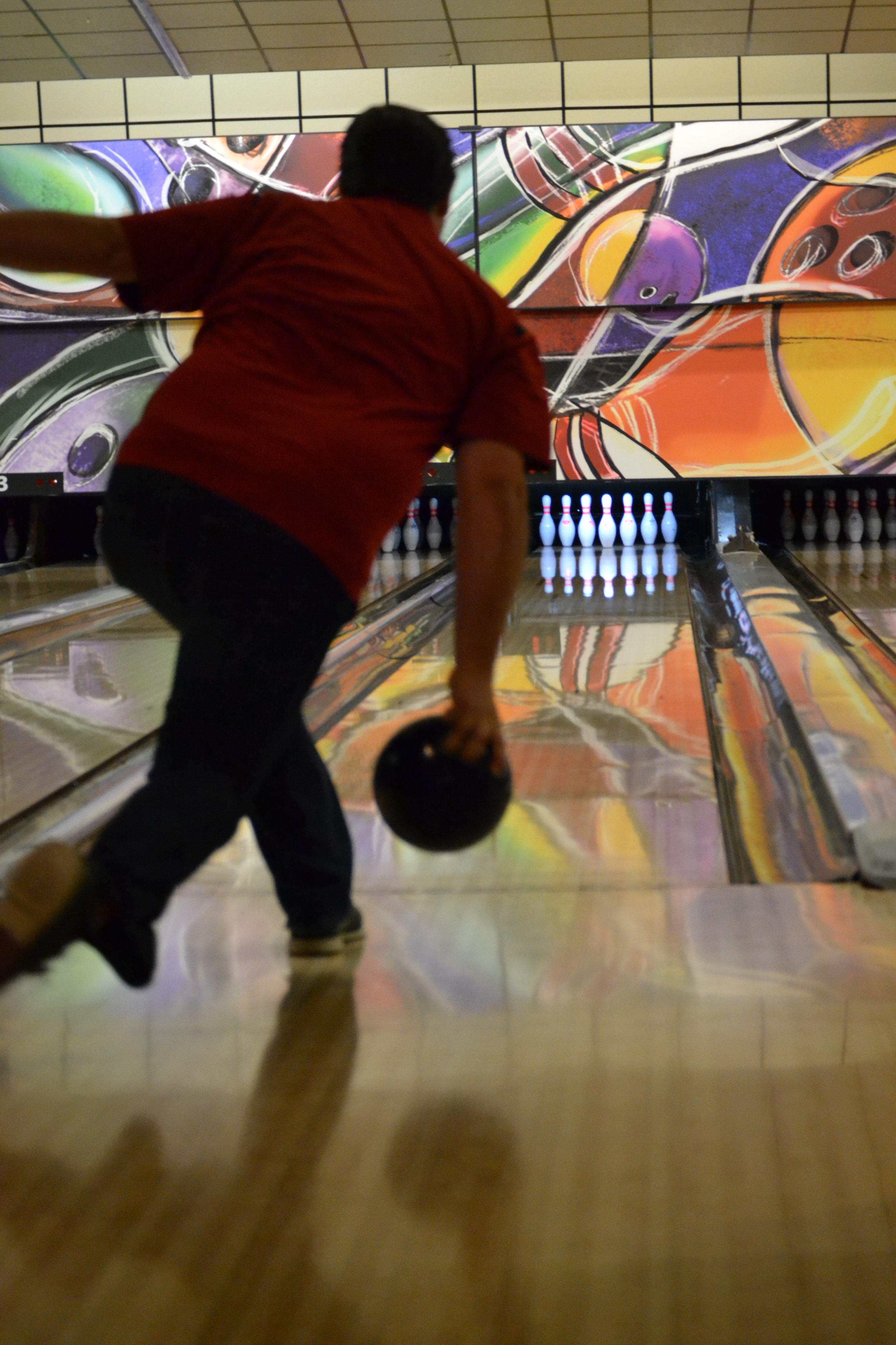 A bowler goes for a strike at Cypress Lanes in Winter Haven