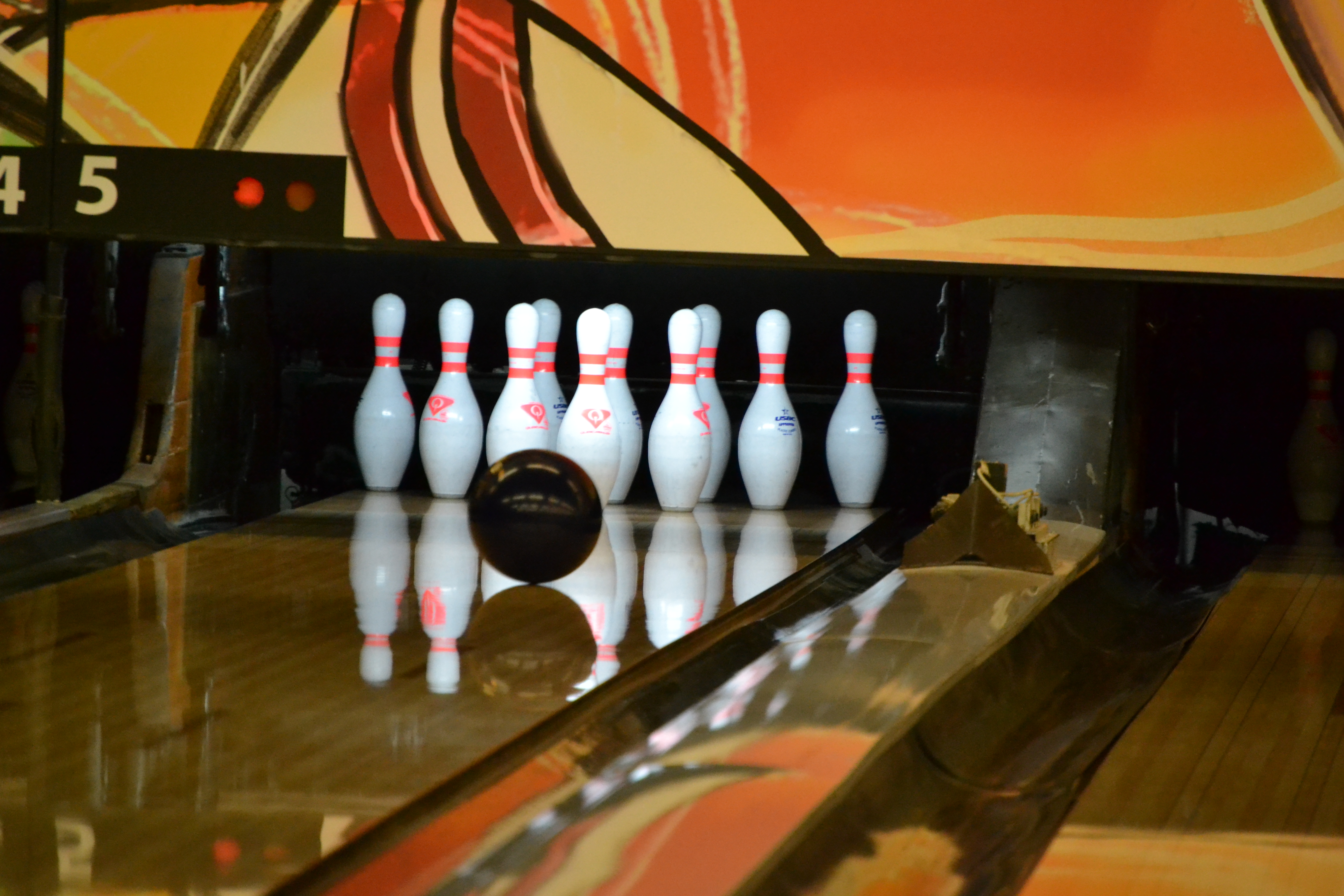 A bowling ball heads for the pins at Cypress Lanes in Winter Haven
