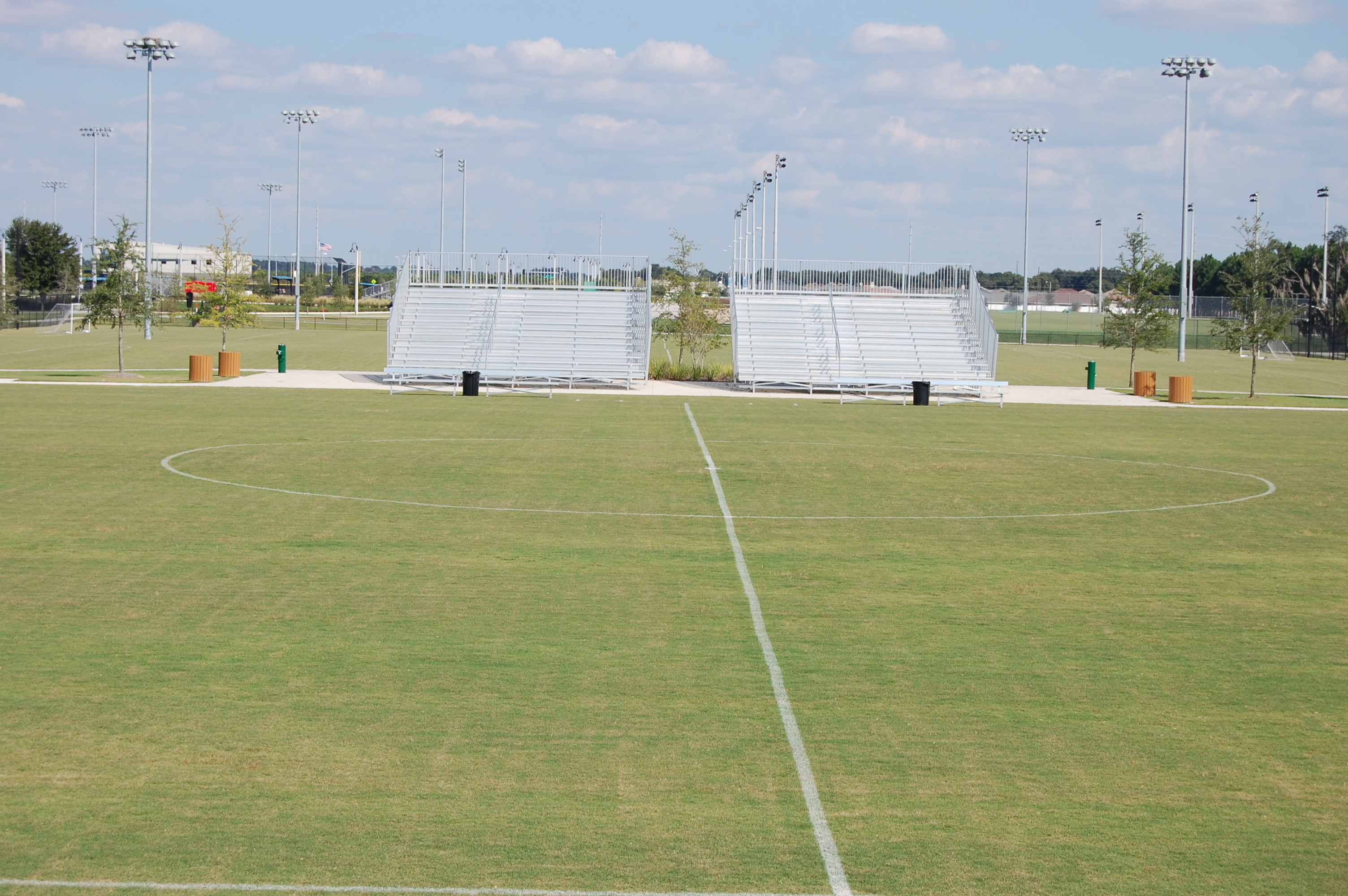 Stands along a soccer field at the Lake Myrtle Sports Park
