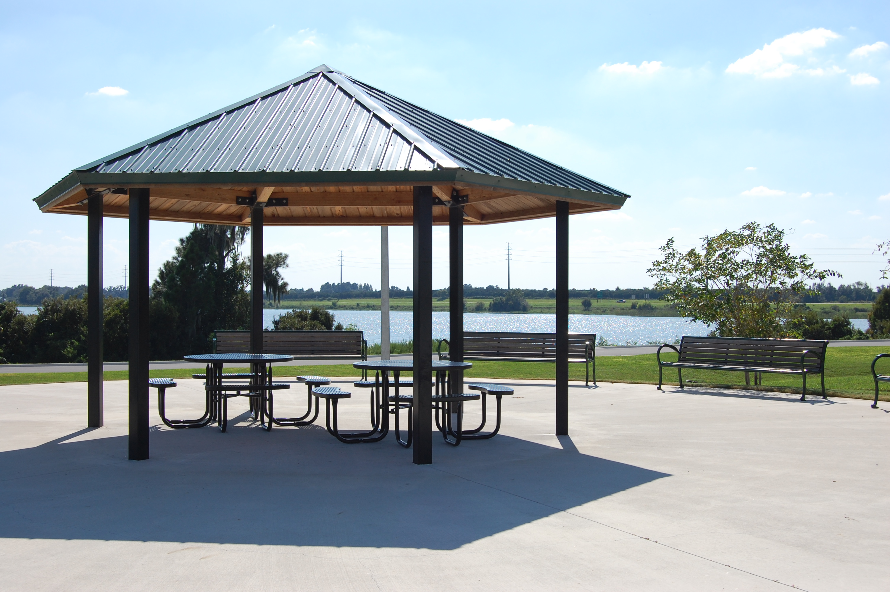 A picnic pavilion at Lake Myrtle Sports Park