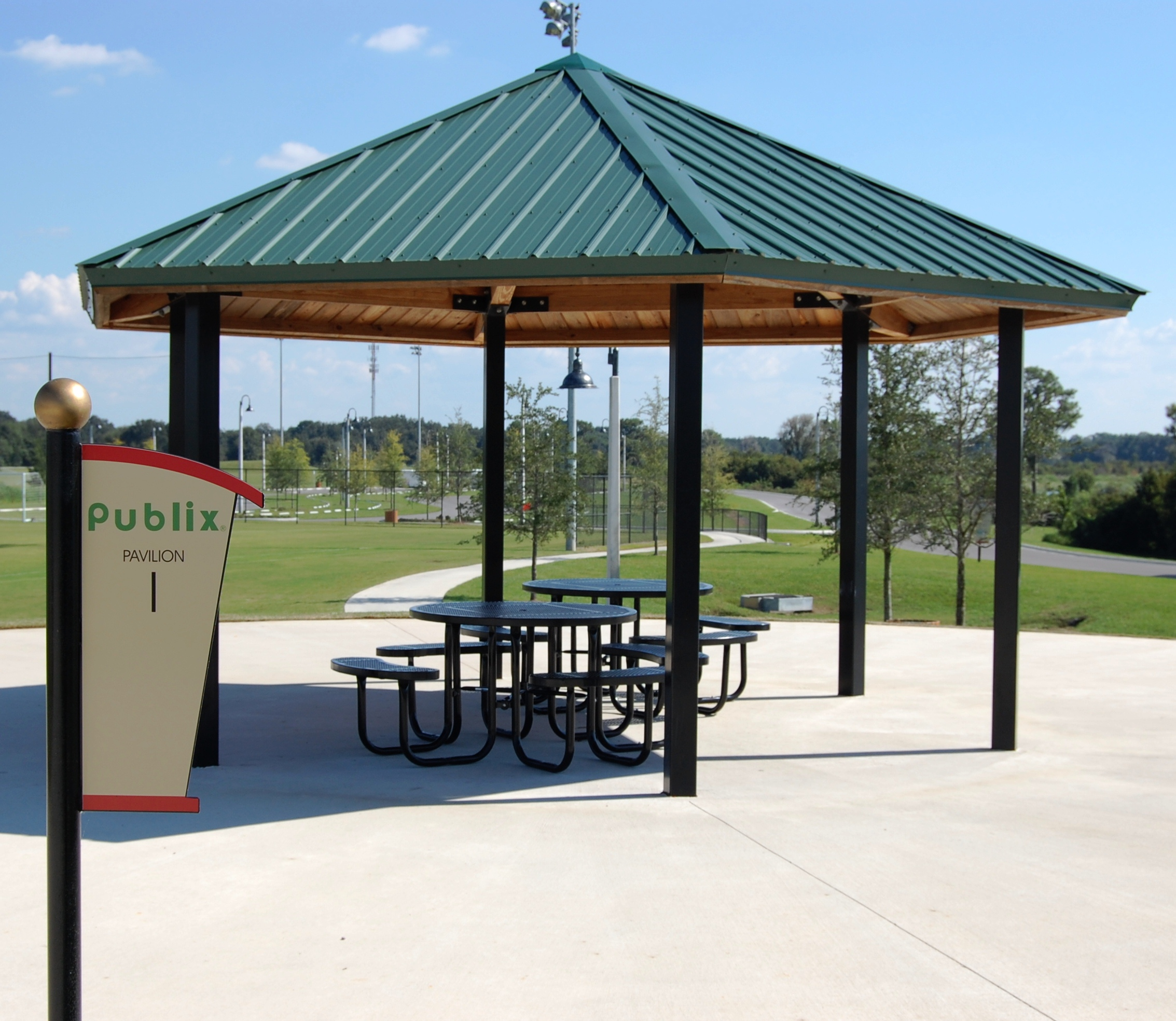 A picnic pavilion at the Lake Myrtle Sports Park
