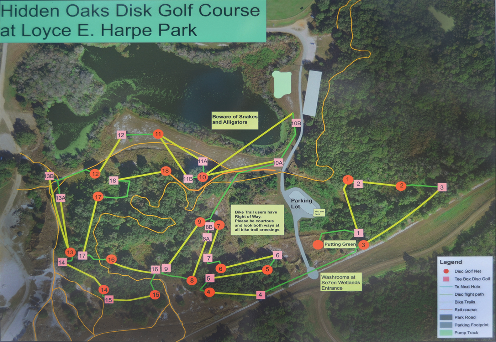 Map for the Loyce E Harpe Hidden Oaks disc golf course