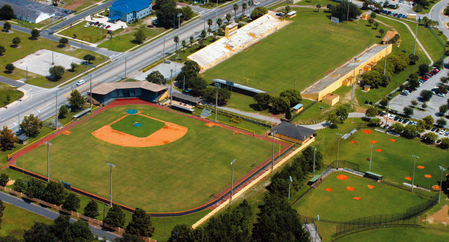An aerial view of historic Henley Field