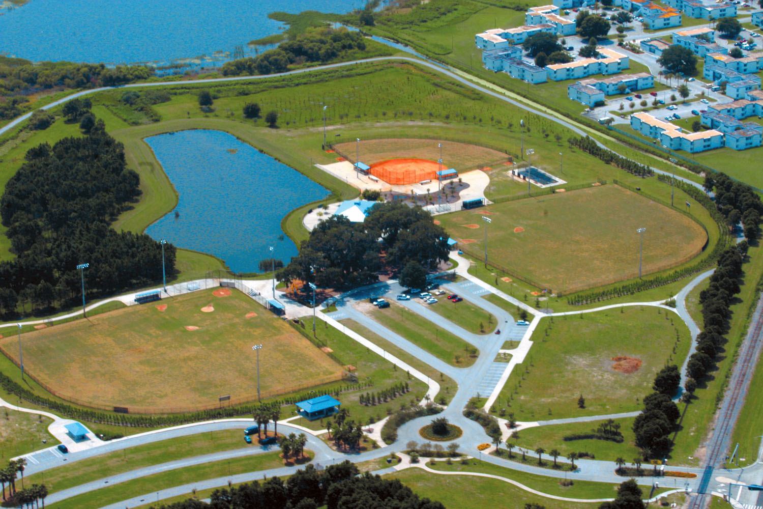 An aerial view of Lake Bonny Park