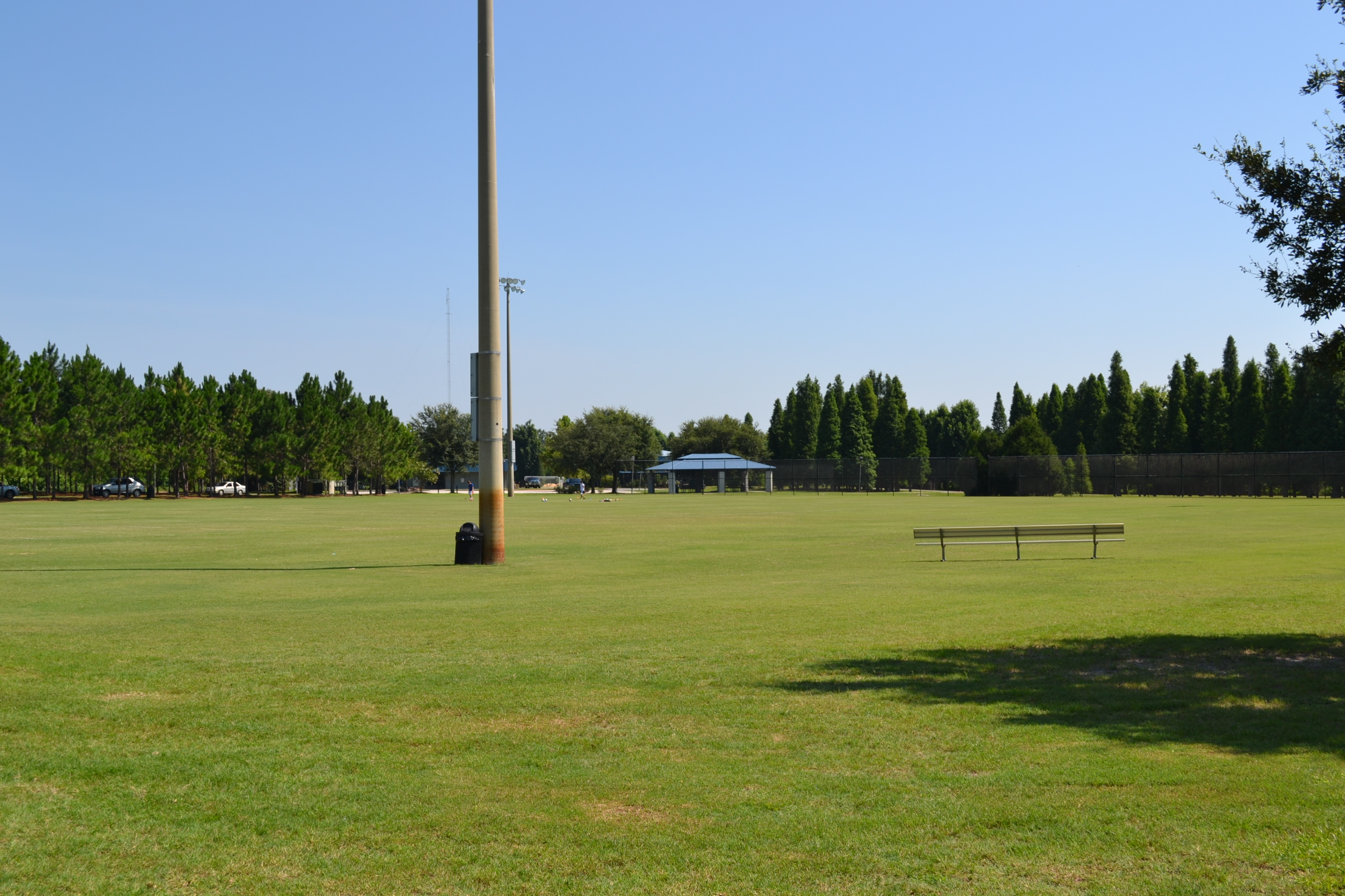 A view of a multipurpose field at Lake Bonny Park