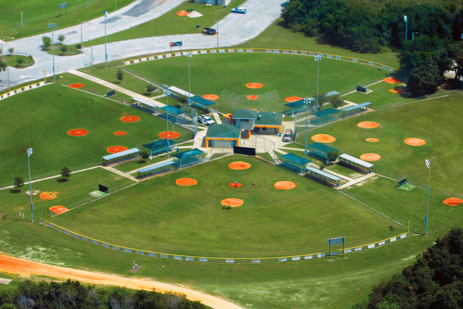 An aerial view of the baseball fields at Loyce E. Harpe Park