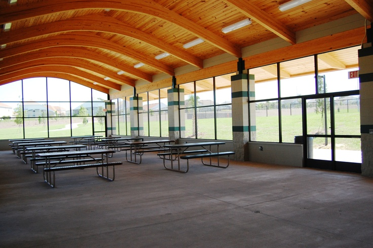 Inside the pavilion at Northeast Regional Park