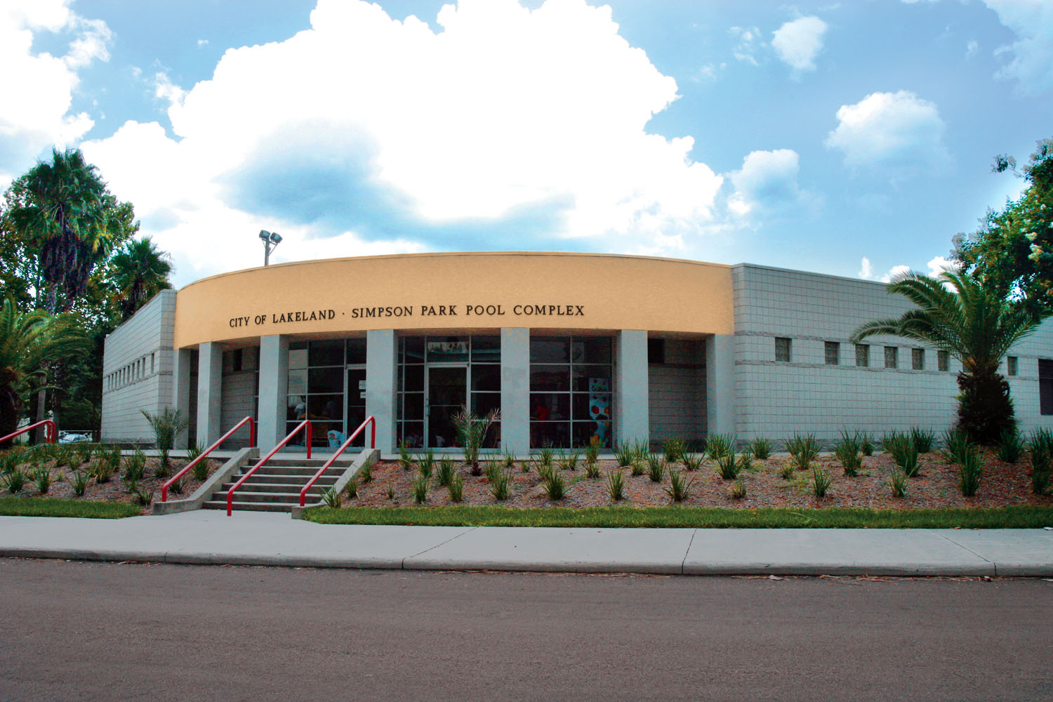 The front of the Simpson Park Community Center pool complex