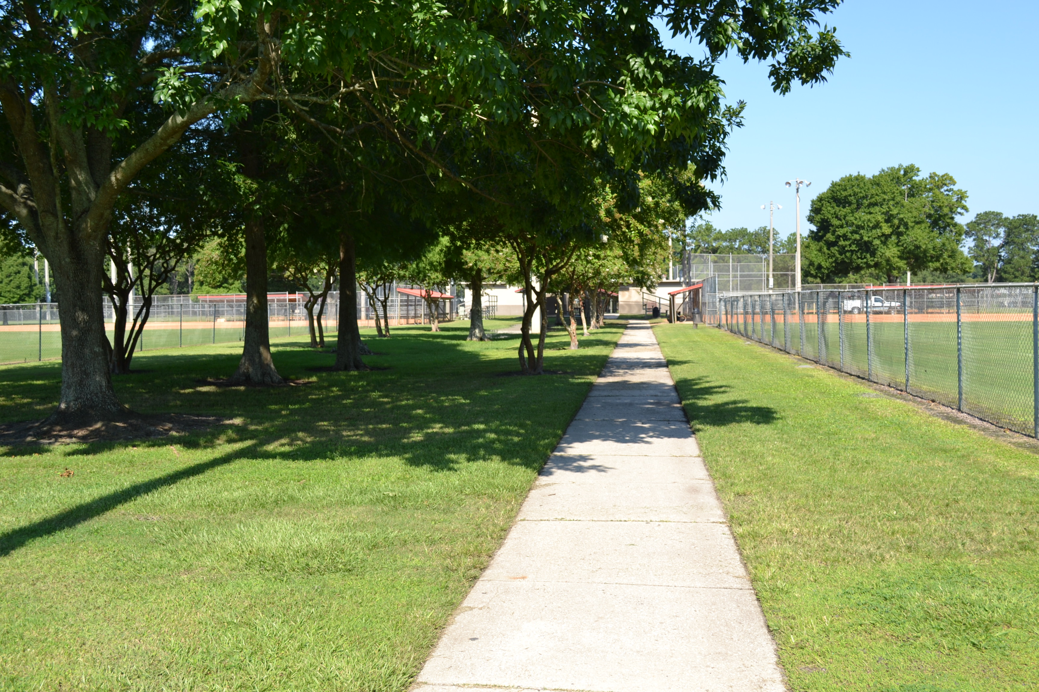 A walkway between the fields at the Southwest Complex