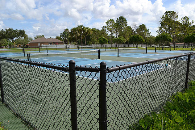 The pickleball courts at Woodlake Park