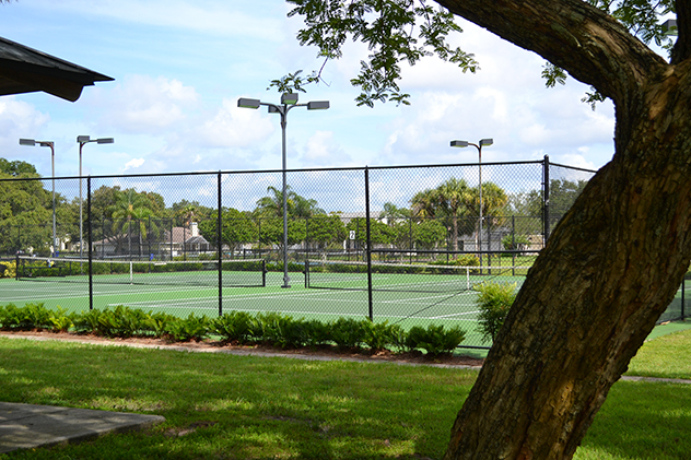 The tennis courts at Woodlake Park