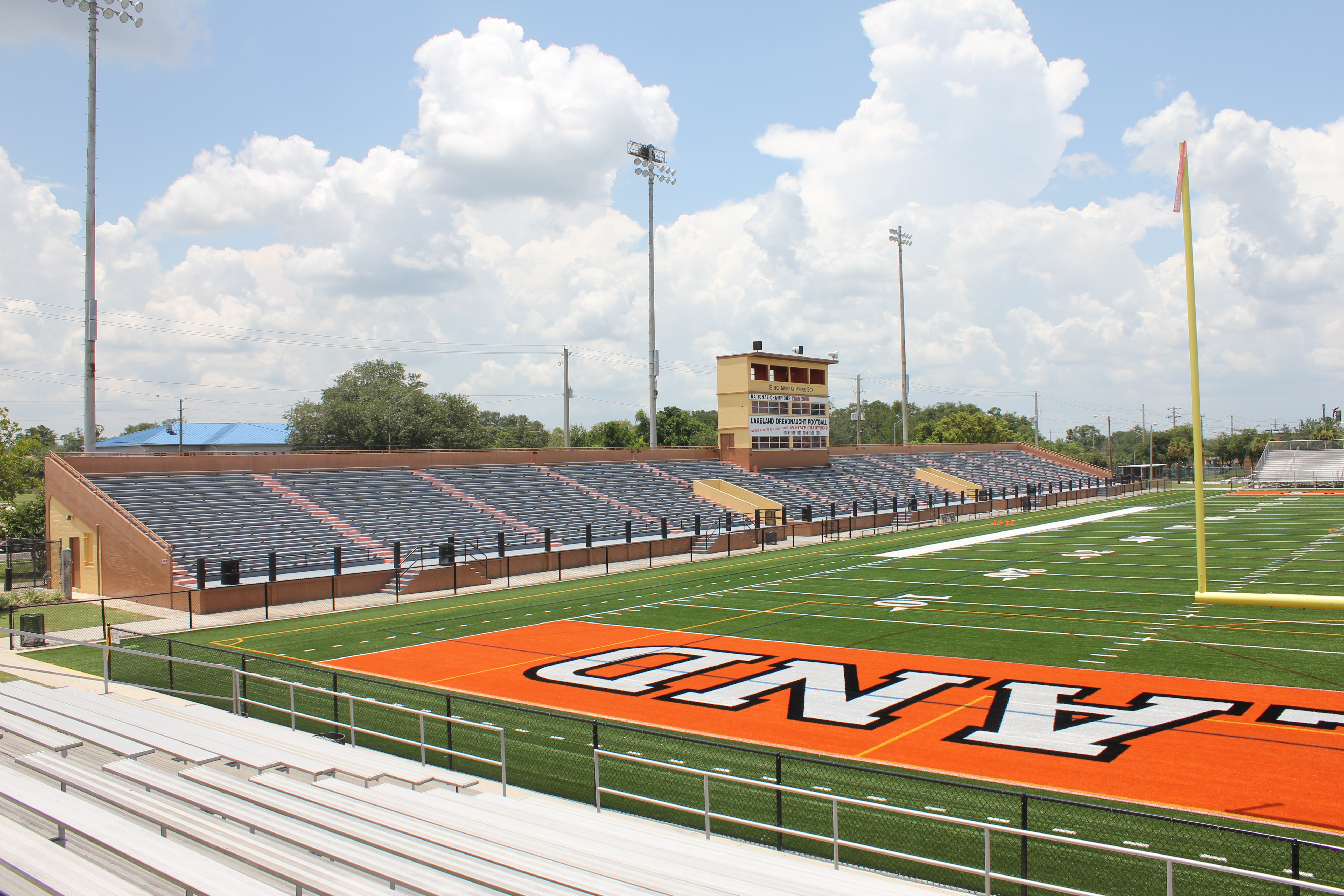 A picture of the field at historic Bryant Stadium in Lakeland
