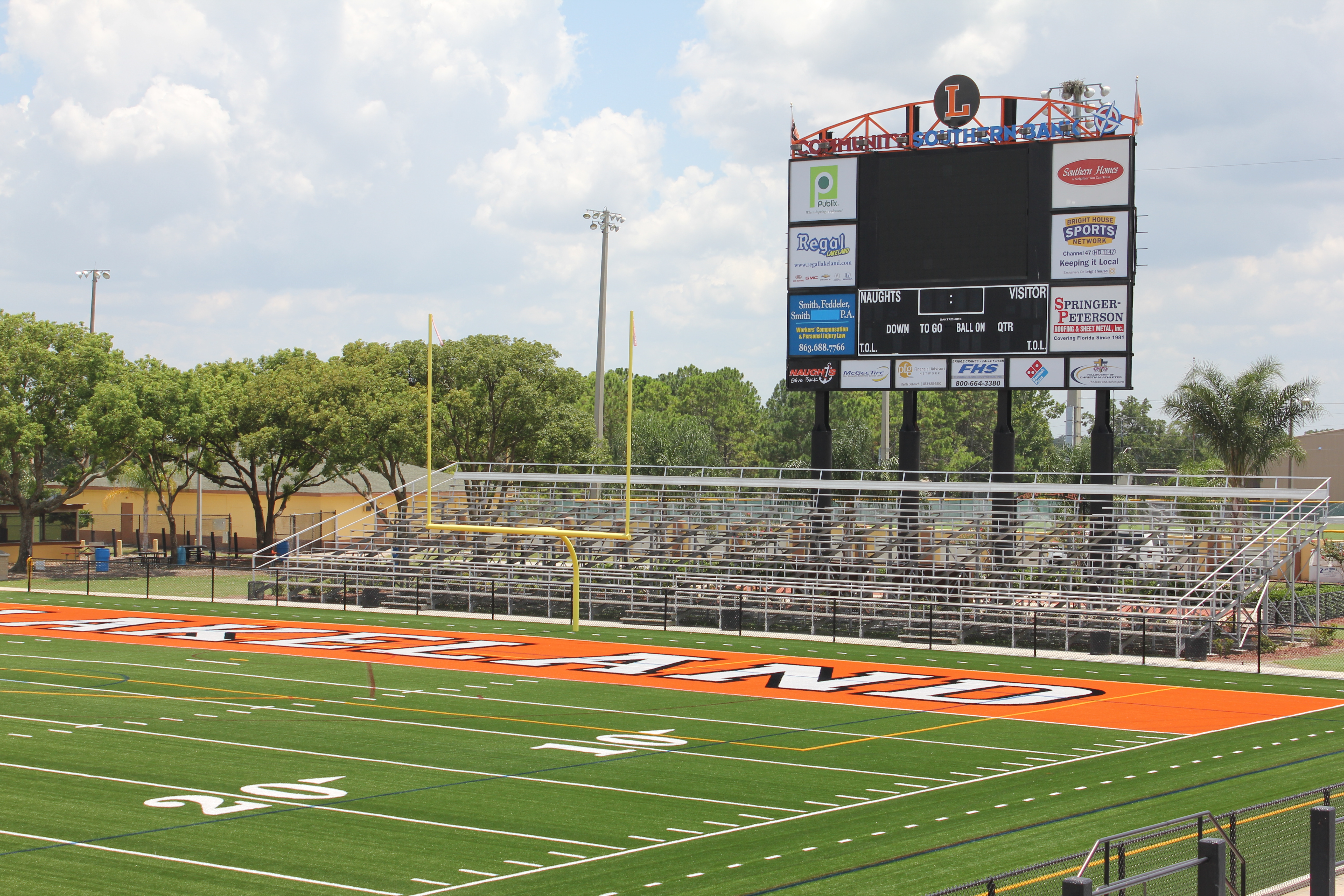 A view of the scoreboard at historic Bryant Stadium