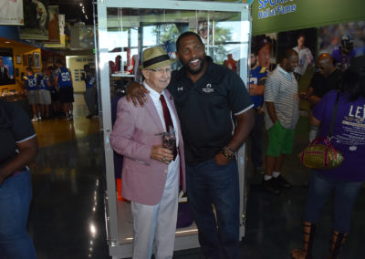 Ray Lewis poses for a photograph during the unveiling of his collection at the Polk County Sports Hall of Fame Museum.