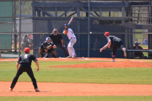 A pitch is thrown during the RussMatt Baseball Invitational held in Winter Haven