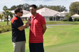 Neal Duncan interviewing Detroit Tigers player at Grasslands Golf & Country Club