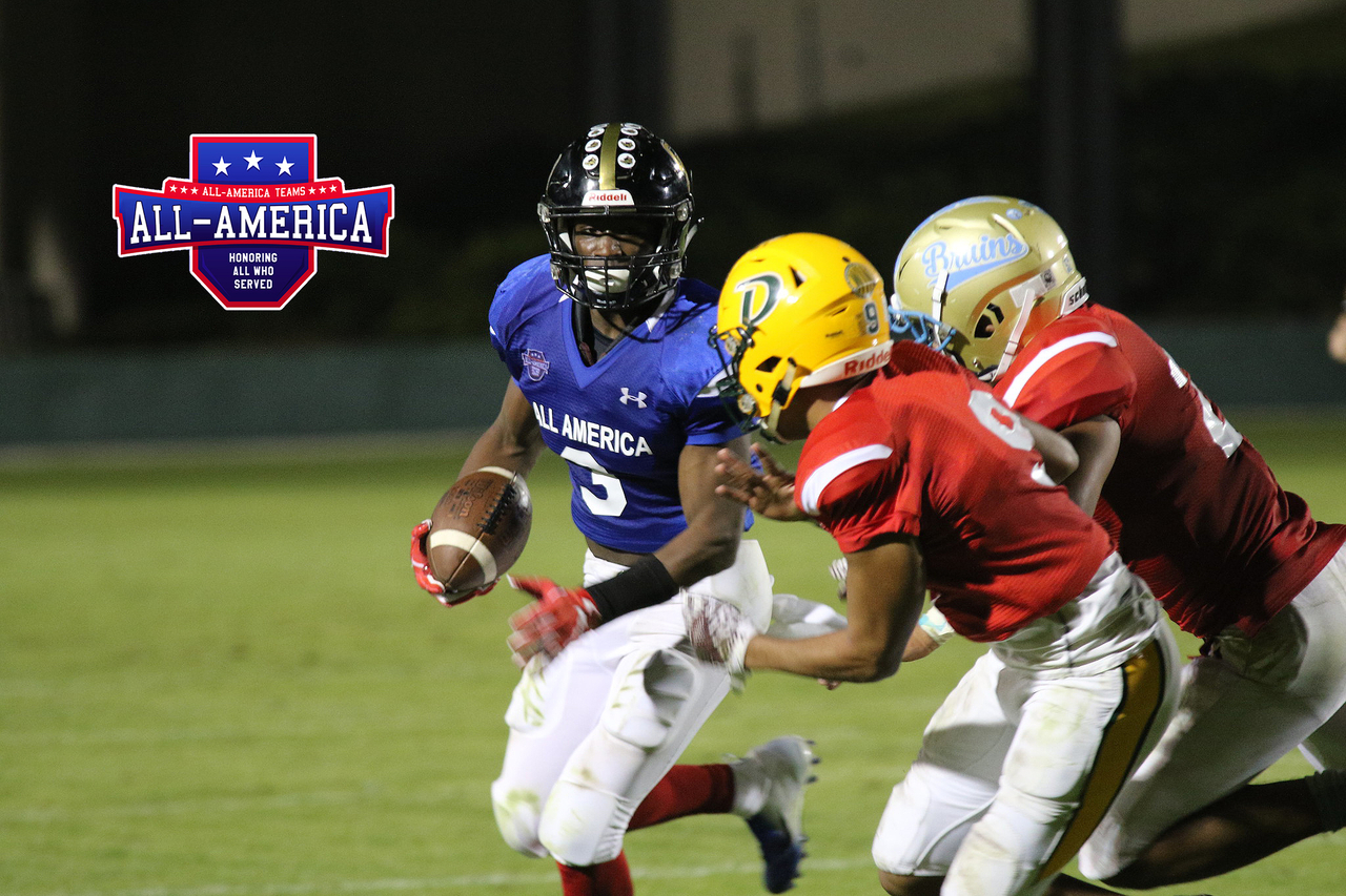 A promotional photograph for the All-America Classic High School Senior Bowl event of a player running from two defenders