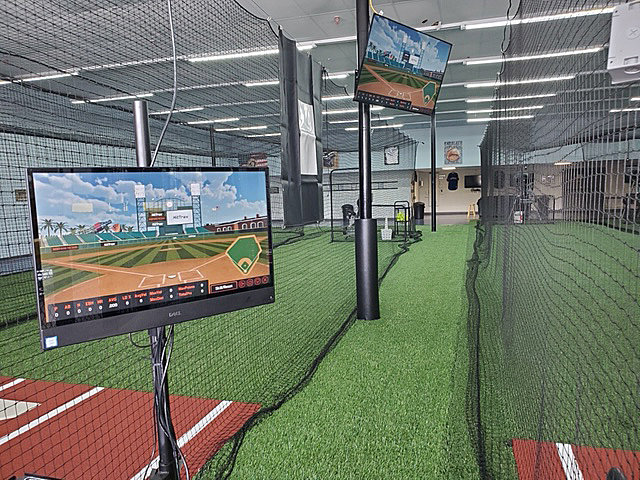 A view of a field simulator inside of Going 406, a baseball and softball training facility in Lakeland