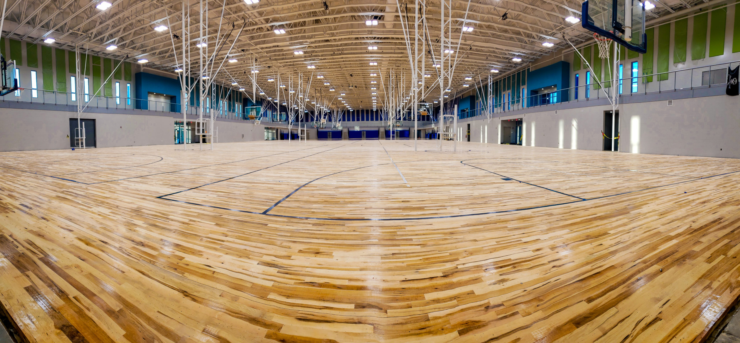 A view of the basketball courts from inside the Winter Haven Fieldhouse and Conference Center