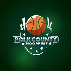 The logo for the Polk County Hoopfest, held in December at the AdventHealth Field House in Winter Haven.