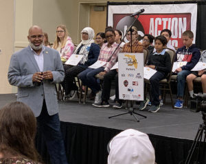 Haines City City Manager addresses the diverse crowd at the Central Florida Spelling Bee